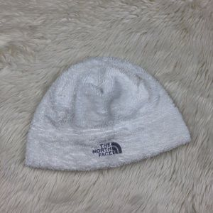 The north face white fuzzy beanie